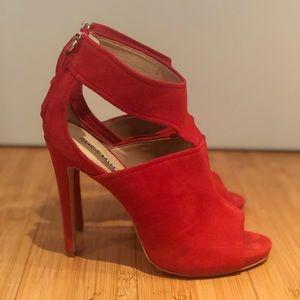 Shoemint Shoes - Red peep toe heels